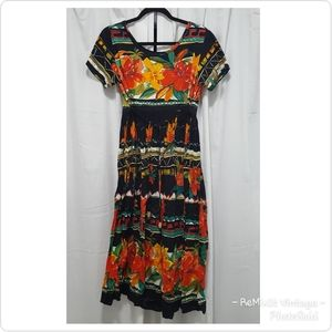 Vintage Black Tropical Floral Print Dress
